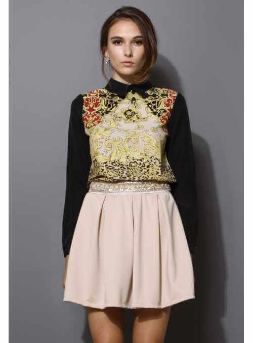 Elegant chiffon top with baroque pattern