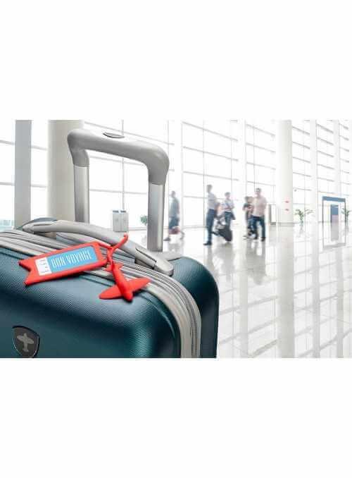 """""""Poletíme"""" - menovka na batožinu, červená"""