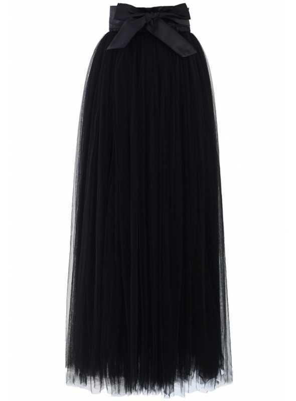 MAXI tylová sukňa s mašľou, čierna