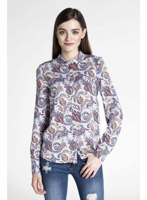 Modern pattern long-sleeved blouse + possible to tuck up to short sleeves
