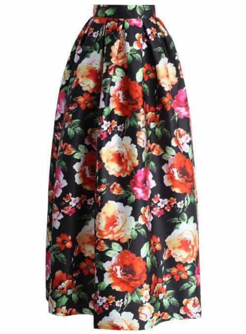 MAXI balónová sukňa svieža s kvetmi