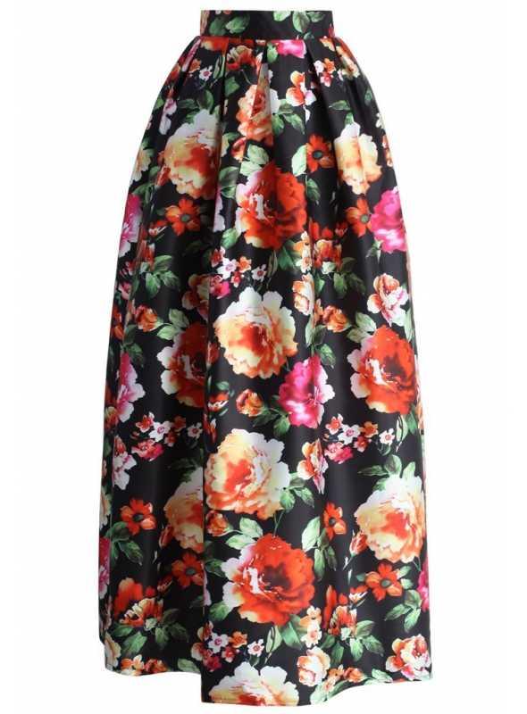 MAXI balónová sukňa s makovými kvetmi