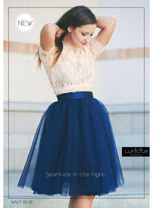 Lunicite MODRÝ TULIPÁN – exkluzívna tylová sukňa námornícka modrá