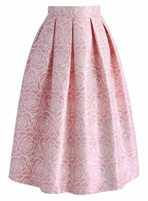 Midi sukňa z jaquardu s kvetmi ruží – ružová