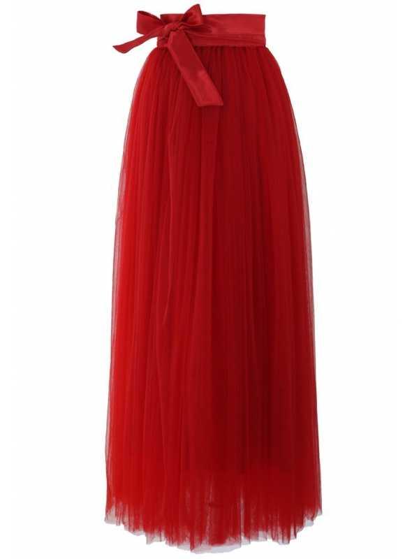Amore Love Maxi tylová sukňa červená