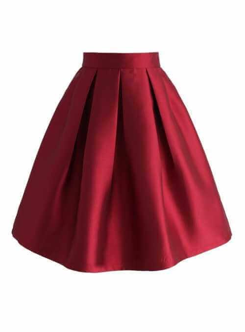 Skladaná sukňa, vínová