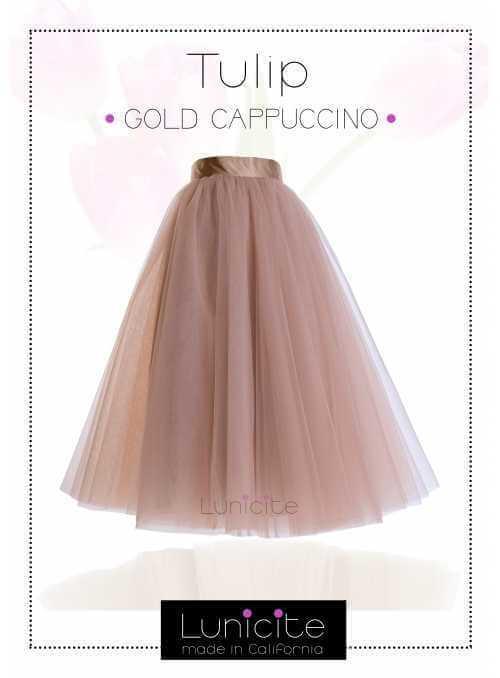 Lunicite CAPPUCCINO TULIPÁN – exkluzívna tylová sukňa cappuccino