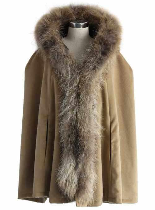 Luxusný pončo kabátik s kožušinkou, khaki