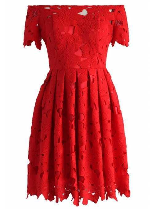 Margarétkové šaty , červené