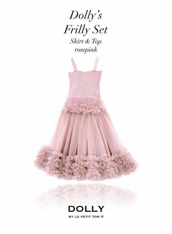 Dolly set – nariasený baletný top a suknička, ružičkovo ružový