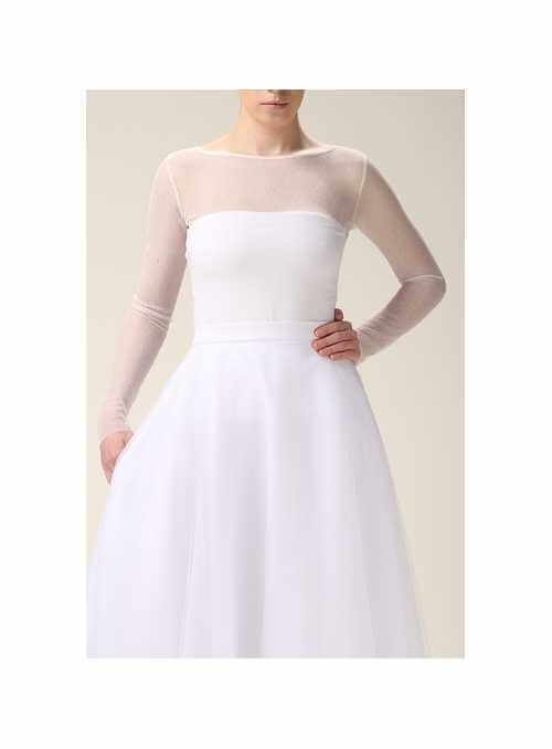 Biely celo-priehľadný elastický top s priehľadnými rukávmi