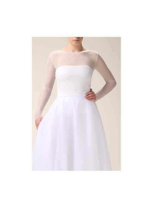 Biely elastický top s priehľadnými rukávmi