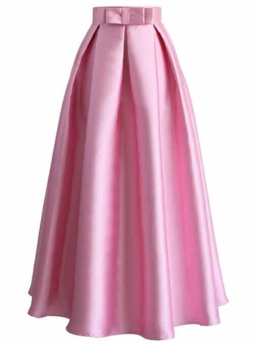 MAXI ružová sladká sukňa s mašľou