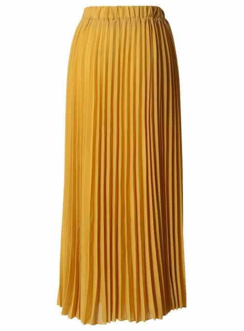 Pliesovaná sukňa so skladmi , horčicová