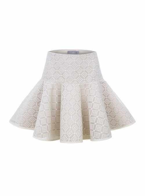 """""""Snežienka"""" - sukňa s čipkou, béžová"""