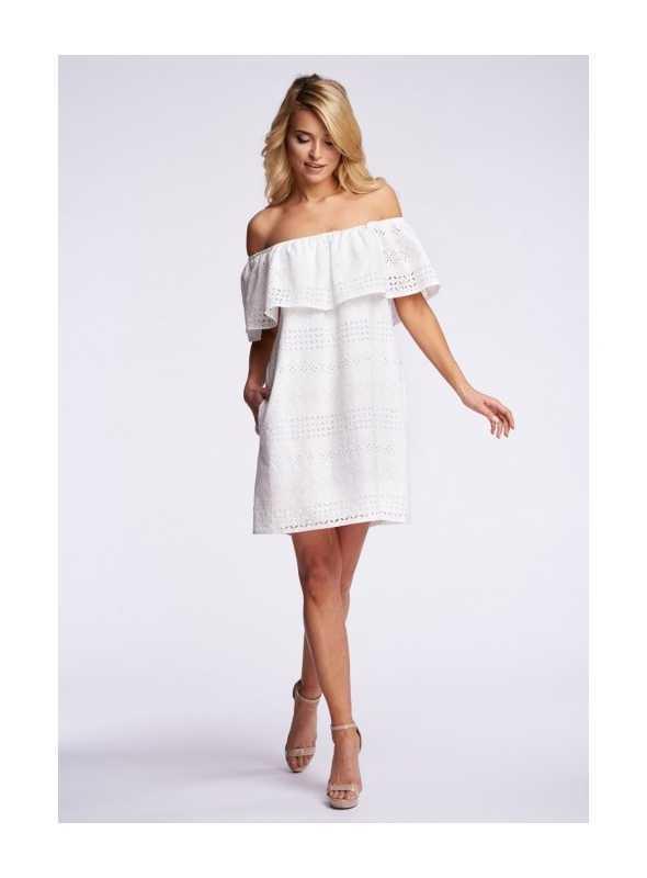 Šaty s odhalenými ramenami, biele