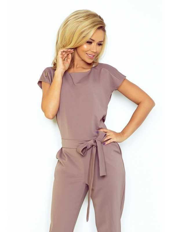 Coffee jumpsuit with bow