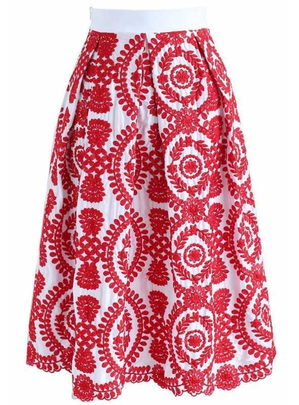 """Midi sukňa """"Červený šperk"""""""