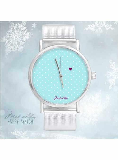 """Hodinky """"LOVE DOTS BLUE"""" – dámske bodkované hodinky so srdiečkom"""