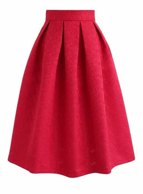 Červená jaquard sukňa