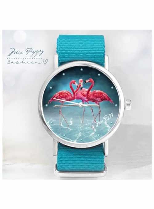 """Hodinky aqua """"BLUE LAGOON"""" – dámske hodinky – plameniaky v modrej lagúne"""