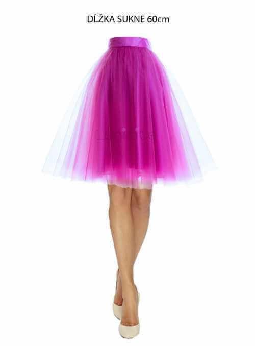 Lunicite ŽIARIVÝ TULIPÁN LILA – exkluzívna tylová sukňa žiarivá lila, 60 cm