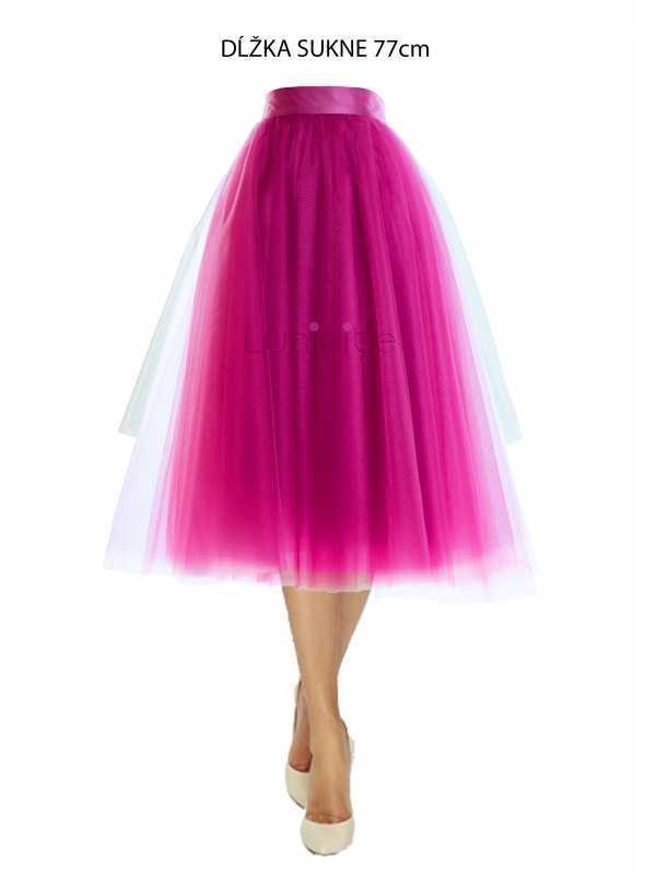 Lunicite ŽIARIVÝ TULIPÁN LILA – exkluzívna tylová sukňa žiarivá lila, 77cm