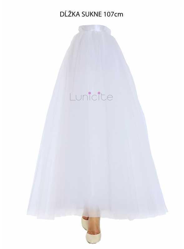 Lunicite BIELY TULIPÁN – exkluzívna tylová sukňa krémovo biela, 107cm