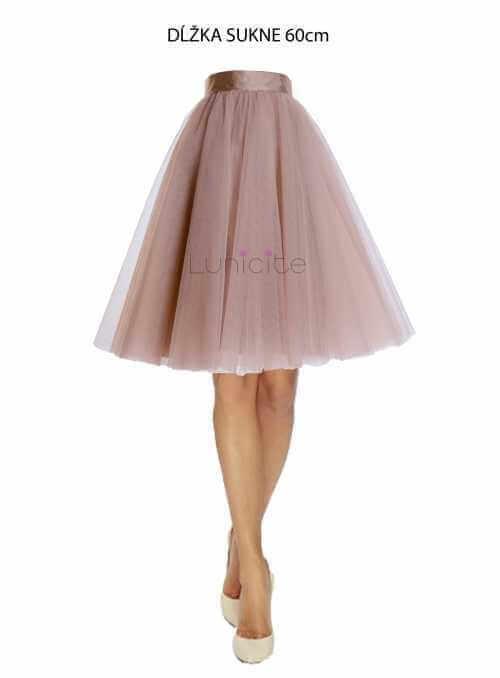 Lunicite CAPPUCCINO TULIPÁN – exkluzívna tylová sukňa cappuccino, 60cm
