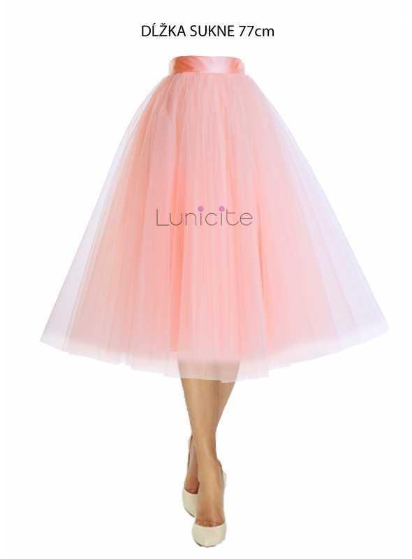 Lunicite PUDROVÝ TULIPÁN – exkluzívna tylová sukňa pudrovo ružová, dĺžka 77cm
