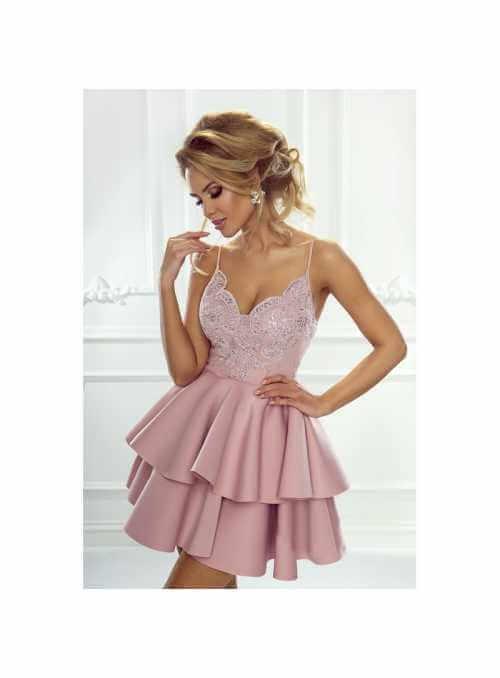 Mini šaty Leila, pudrovo ružové
