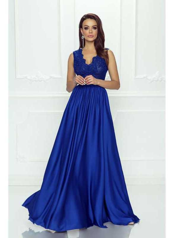 """Maxi šaty """"Navy blue"""" s čipkou a hrubými ramienkami"""