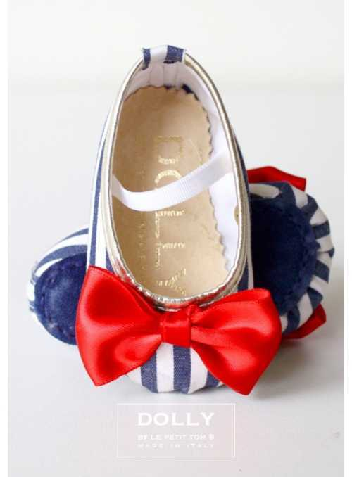 BABY CLASSIC BALLERINA'S 7CB NAVY STRIPED RED SATIN BOW