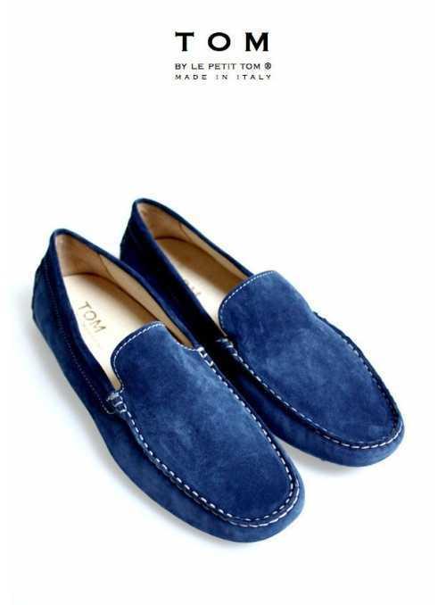TOM by Le Petit Tom ® pánske mokasíny námornícka modrá koža