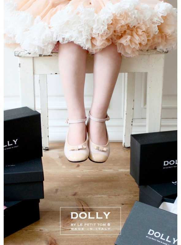 DOLLY by Le Petit Tom ® CLASSIC BALLERINA'S 20GB PINK LEATHER + BEIGE PATENT CAP TOE AND BOW