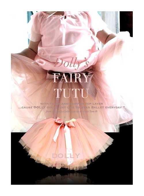 FAIRY TUTU OFF WHITE TULLE + BALLET PINK CHIFFON TOP