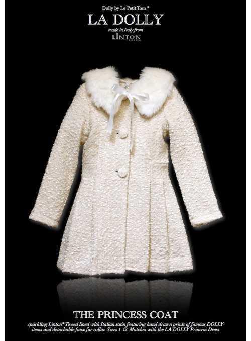 LA DOLLY PRINCEZNIČKOVSKÝ kabát z LINTON TVÍDU – biely