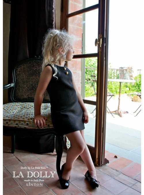 LA DOLLY MALÉ ČIERNE šaty z LINTON TVÍDU – čierne