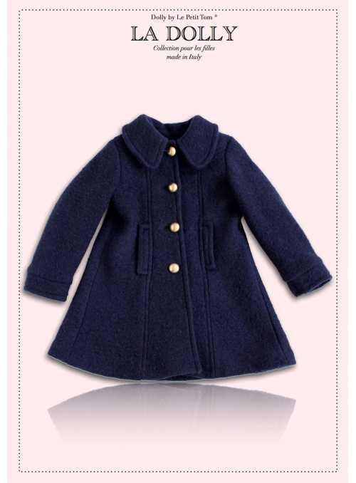 """LA DOLLY vlnený """"bábikovský kabát"""" - modrý"""