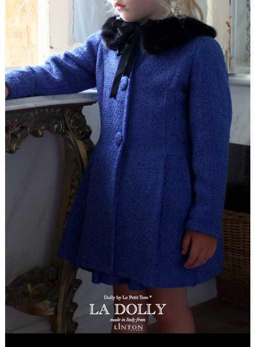 LA DOLLY PRINCEZNIČKOVSKÝ kabát z LINTON TVÍDU – modrý