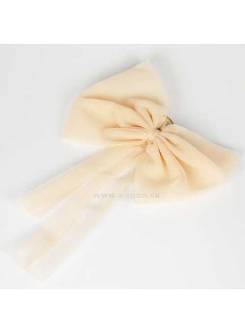 CHIFFON HAIR BOW cream