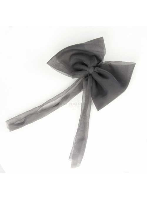 CHIFFON HAIR BOW dark grey