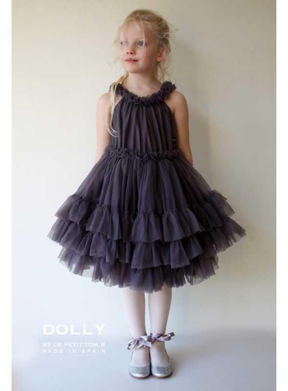 RUFFLED DANCE DRESS DARK GREY