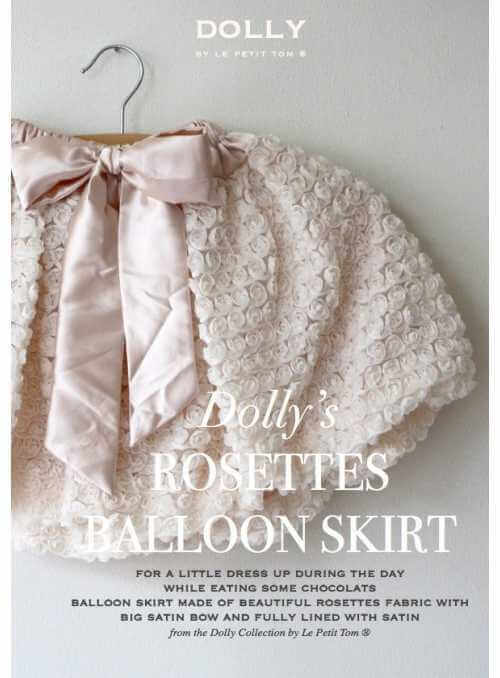 ROSETTE BALLOON SKIRT WITH BIG BOW cream