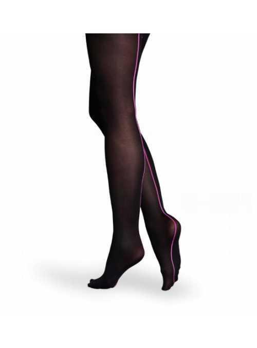Happy Socks pančušky čierne s fialovým pásikom