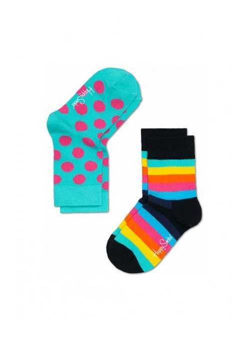 Happy Socks 2-package: children socks – colorful strips and dots