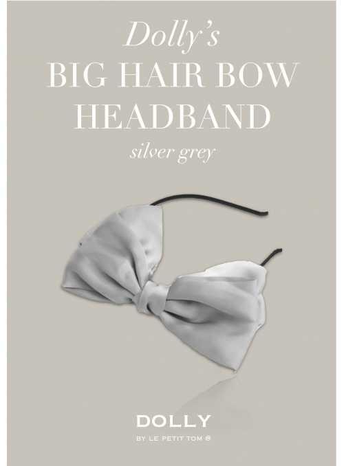DOLLY by Le Petit Tom ® luxusná šifónová čelenka s veľkou mašľou – striebristo šedá