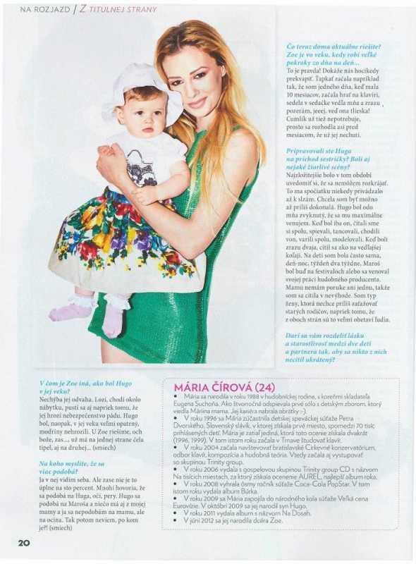 (7/2013-SK) Časopis MAMINKA – Mária čírová s dcérkou Zoe, Bratislava