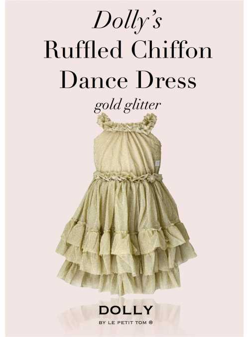 RUFFLED DANCE DRESS gold