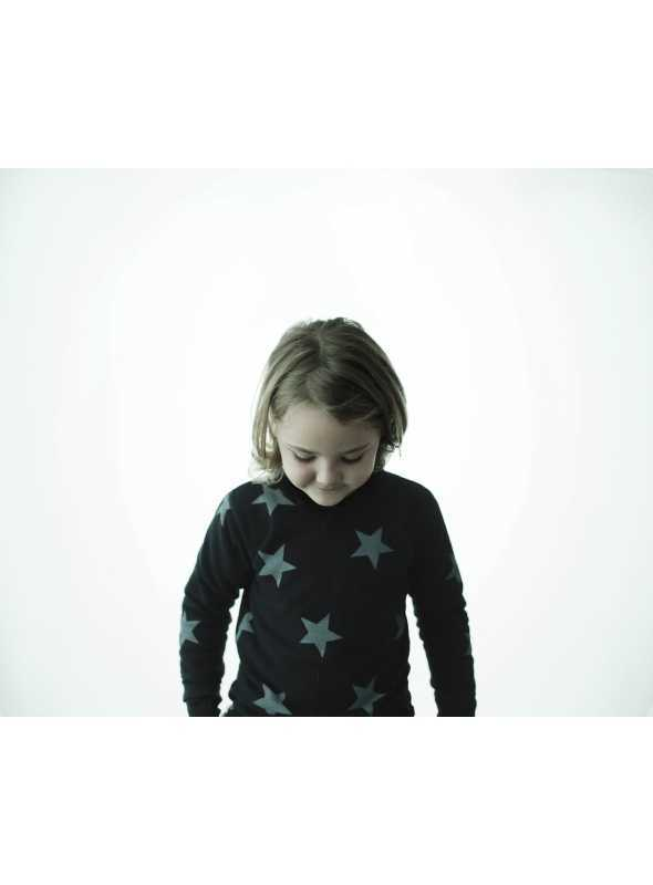 Detský sveter s hviezdičkami, šedý